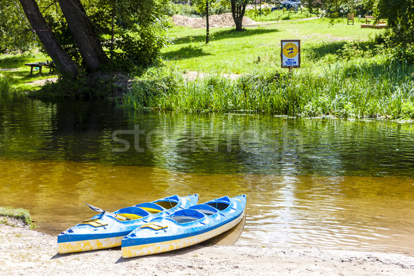 canoeing on Krutynia River, Warmian-Masurian Voivodeship, Poland Stock photo © phbcz