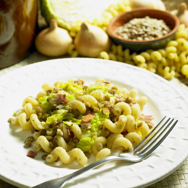 pasta with lentil and savoy cabbage Stock photo © phbcz