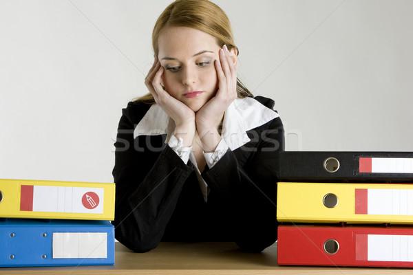 üzletasszony mappák nő munka öltöny dolgozik Stock fotó © phbcz