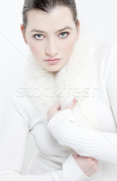Stok fotoğraf: Portre · genç · kadın · beyaz · kazak · kadın