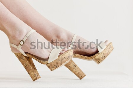 detail of sitting woman wearing summer shoes Stock photo © phbcz