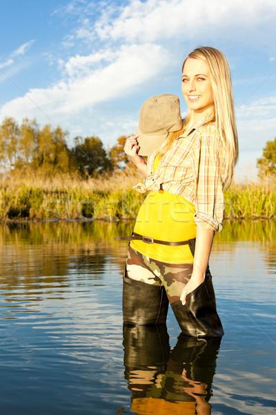 Rybak kobieta stałego staw kobiet relaks Zdjęcia stock © phbcz