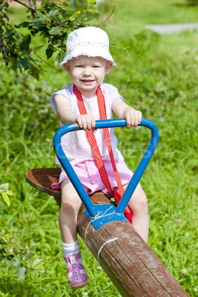 девочку сидят Swing девушки ребенка лет Сток-фото © phbcz