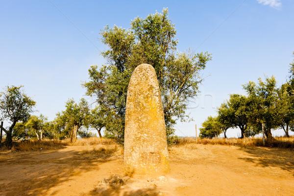 menhir in Almendres near Evora, Alentejo, Portugal Stock photo © phbcz