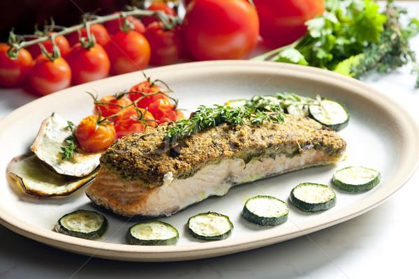 baked salmon with herbs eschar Stock photo © phbcz