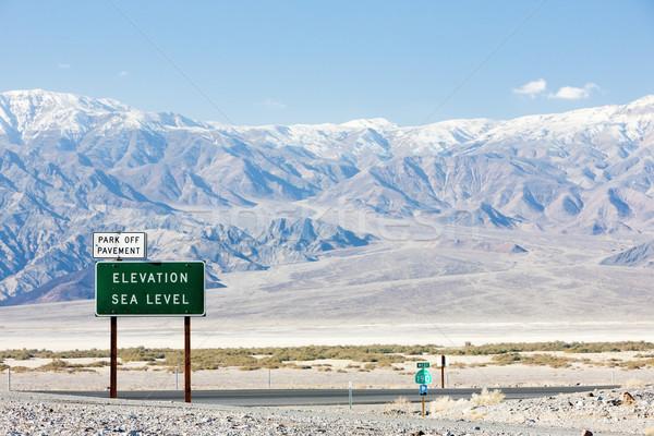 Mer niveau signe mort vallée parc Photo stock © phbcz