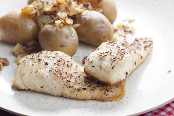 クミン 魚 プレート 野菜 ジャガイモ 食事 ストックフォト © phbcz