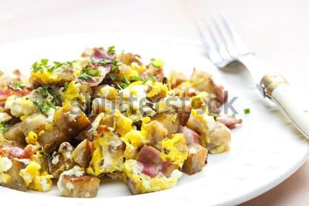 Gombóc tojás szalonna tányér étel edény Stock fotó © phbcz