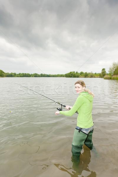 женщину рыбалки пруд спорт женщины Постоянный Сток-фото © phbcz