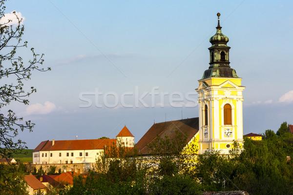 Templom szent kastély Csehország épület falu Stock fotó © phbcz