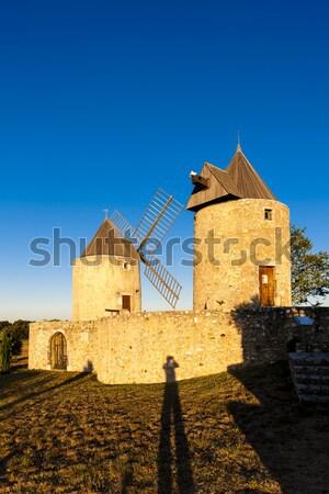 Franciaország építészet Európa szélmalom kint tájékozódási pont Stock fotó © phbcz