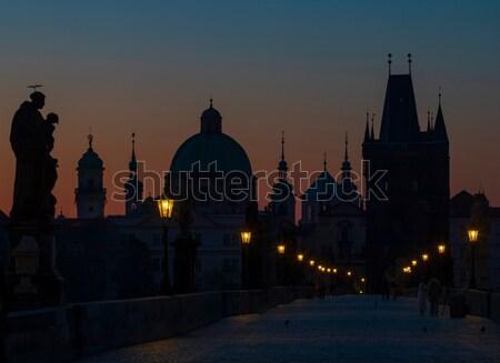 Ponte all'alba Praga Repubblica Ceca costruzione neve Foto d'archivio © phbcz