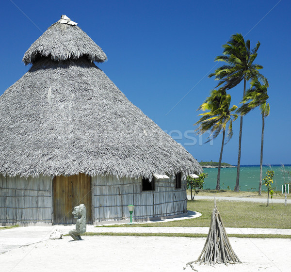 demonstration of aboriginal hut, Bahia de Bariay, Holguin Provin Stock photo © phbcz