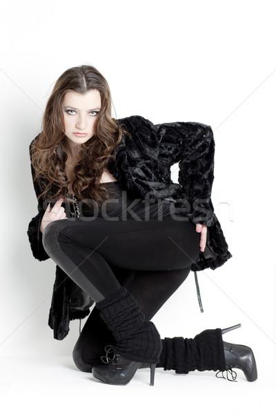 Térdel fiatal nő visel fekete ruházat nő Stock fotó © phbcz