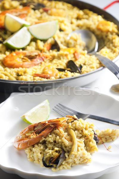 Fruits de mer plaque shell cuillère repas plat Photo stock © phbcz