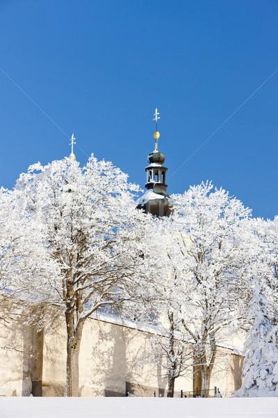 Hegy anya Isten kolostor Csehország hó Stock fotó © phbcz