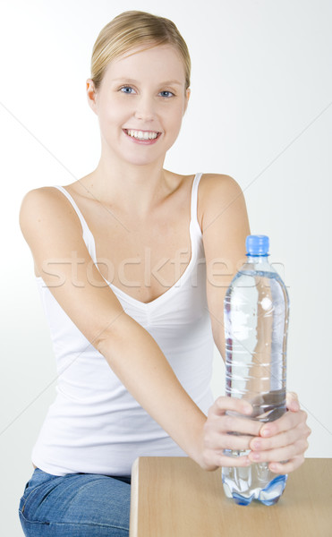 portrait of woman with bottle of water Stock photo © phbcz