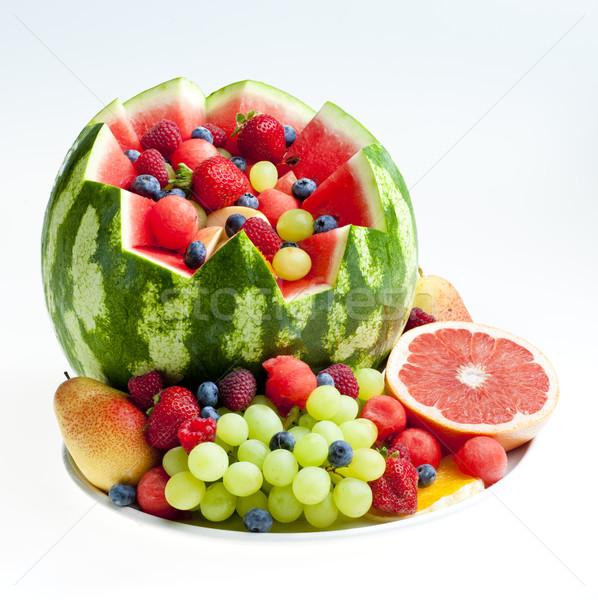 фруктовый салат воды дыня продовольствие фрукты клубника Сток-фото © phbcz