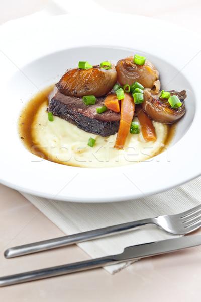 Gulasz wołowy marchew ziemniaki mięsa widelec posiłek Zdjęcia stock © phbcz