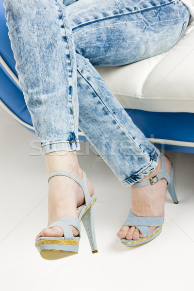 detail of woman wearing denim summer shoes Stock photo © phbcz