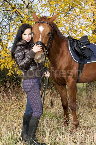 Stock fotó: Lovas · ló · őszi · természet · nők · fiatal