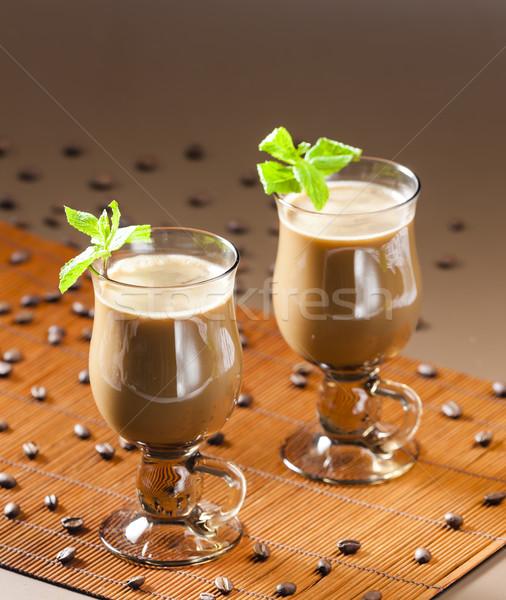 Café grãos de café copo quente de Foto stock © phbcz