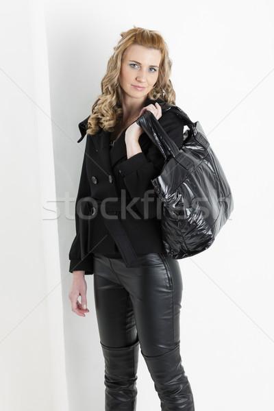 портрет Постоянный женщину черный одежды сумочка Сток-фото © phbcz