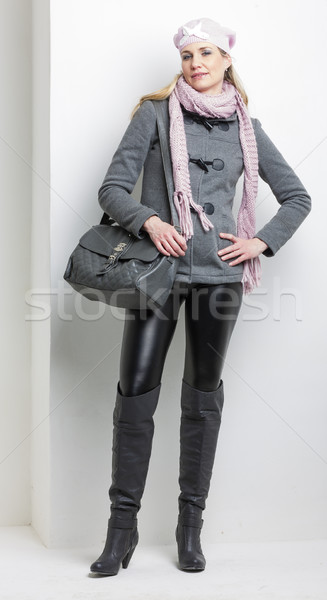 woman wearing winter clothes with a handbag Stock photo © phbcz