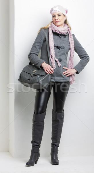 女性 着用 冬 服 ハンドバッグ 黒 ストックフォト © phbcz