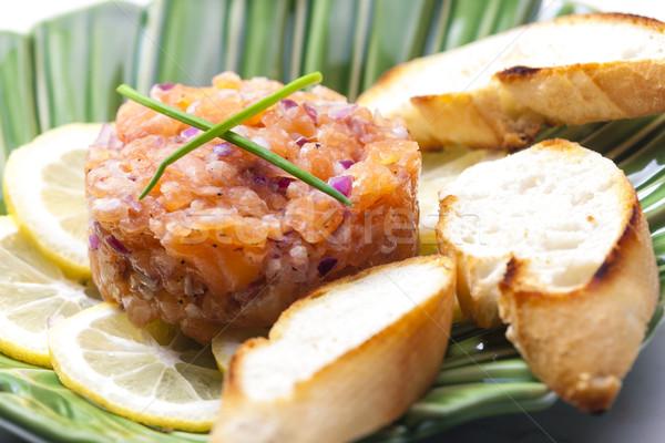 Salmone piatto pasto cipolla sani Foto d'archivio © phbcz