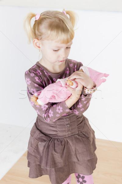 Nina jugando muneca nina moda nino Foto stock © phbcz
