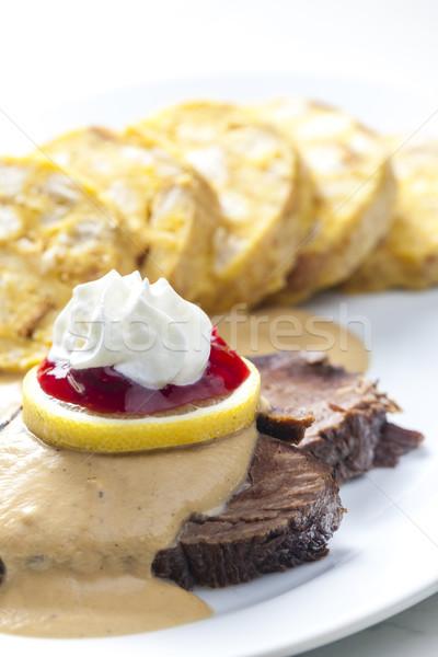 Lendenen room vlees citroen maaltijd rundvlees Stockfoto © phbcz