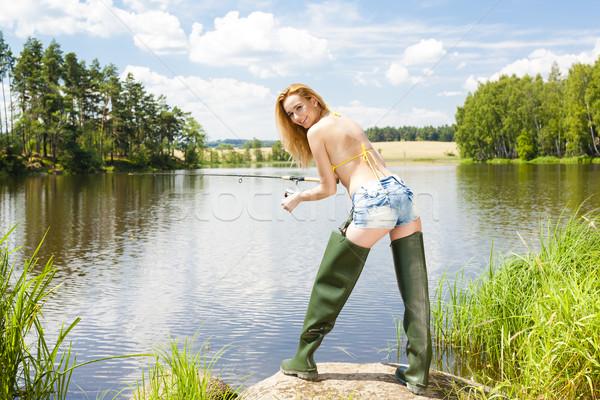 Pesca stagno estate donna bikini Foto d'archivio © phbcz