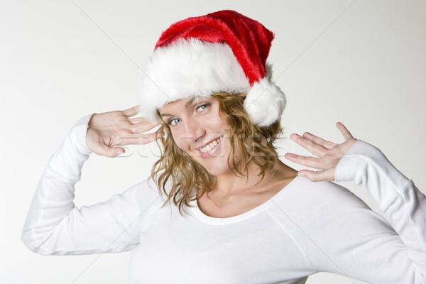woman's portrait - Santa Claus Stock photo © phbcz