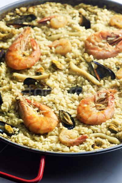 paella with seafood Stock photo © phbcz