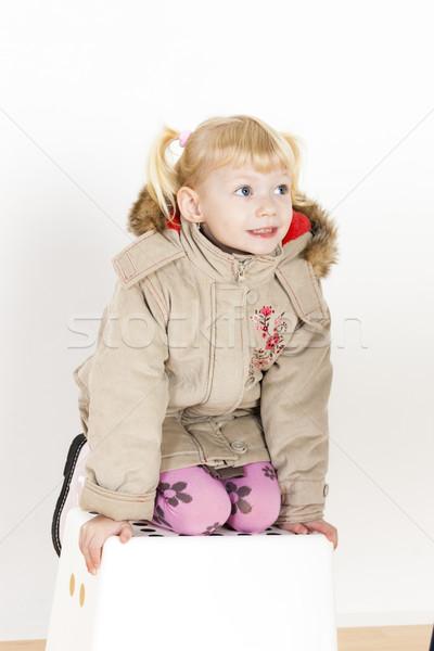 Bambina sgabello ragazza moda bambino Foto d'archivio © phbcz