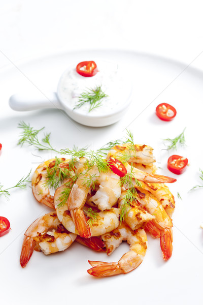 grilled prawns with dip of garlic, chilli and dill Stock photo © phbcz