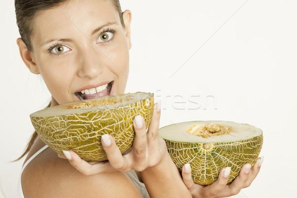 Portre kadın kavun gıda meyve meyve Stok fotoğraf © phbcz