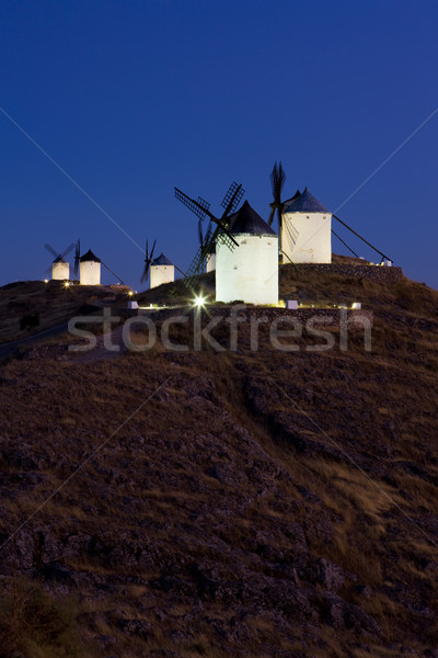 windmills at night, Consuegra, Castile-La Mancha, Spain Stock photo © phbcz