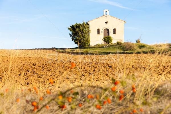 Capela campo planalto França edifício viajar Foto stock © phbcz