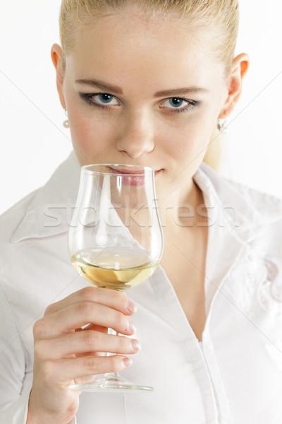 портрет дегустация белое вино женщину человек Сток-фото © phbcz