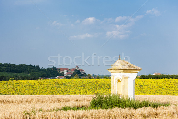 God's torture with sunflower field and Jaroslavice Castle, Czec Stock photo © phbcz