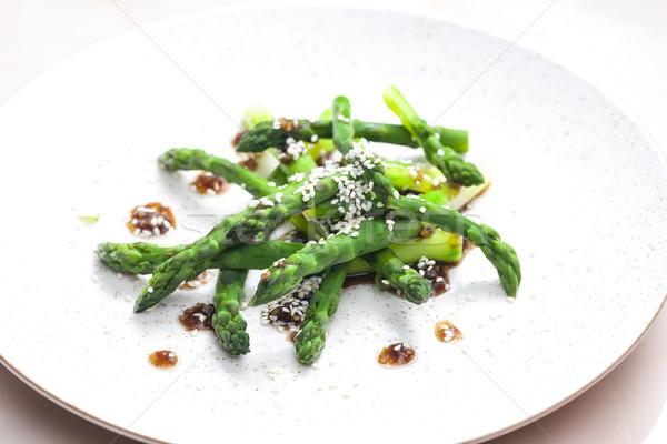 green asparagus with sesame Stock photo © phbcz