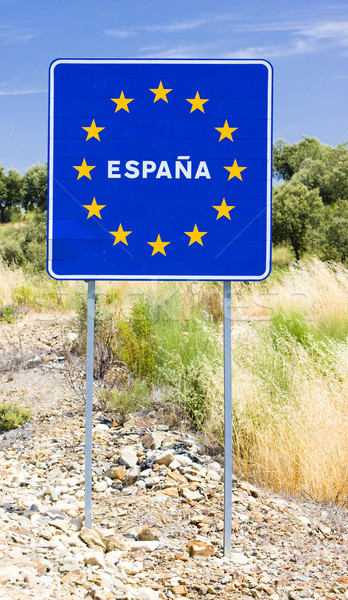 sign at the border of Spain Stock photo © phbcz