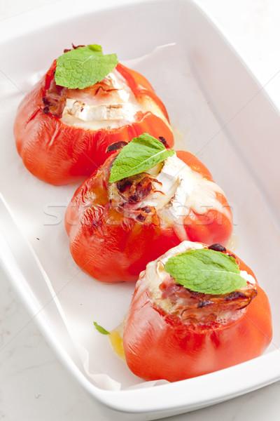 Photo stock: Tomates · fromage · de · chèvre · plaque · légumes · herbes