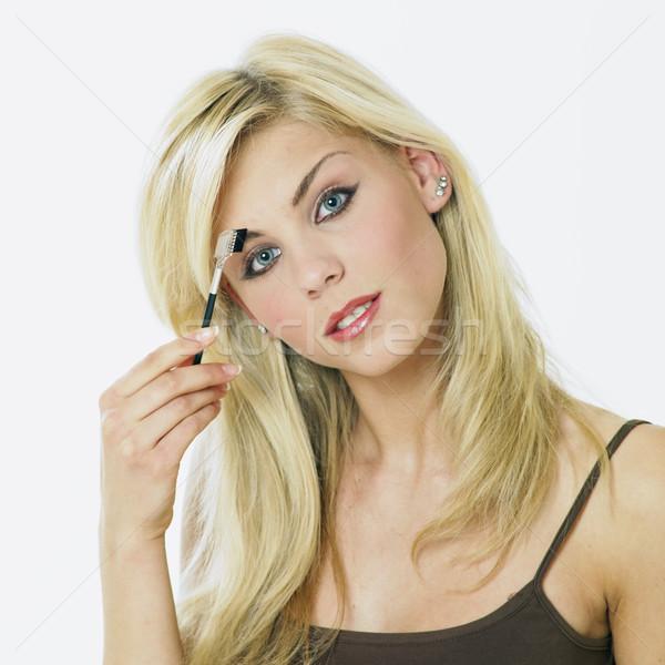 Stok fotoğraf: Makyaj · kadın · yüz · güzellik · yüzler · genç