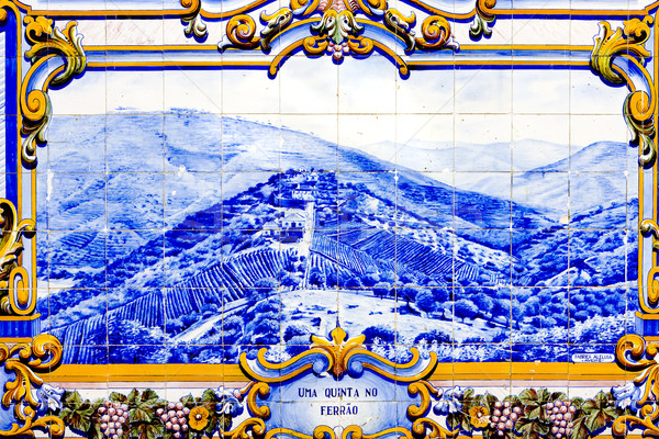 tiles (azulejos) at railway station of Pinhao, Douro Valley, Por Stock photo © phbcz