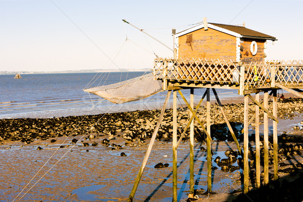 Stock photo: pier with fishing net, Gironde Department, Aquitaine, France