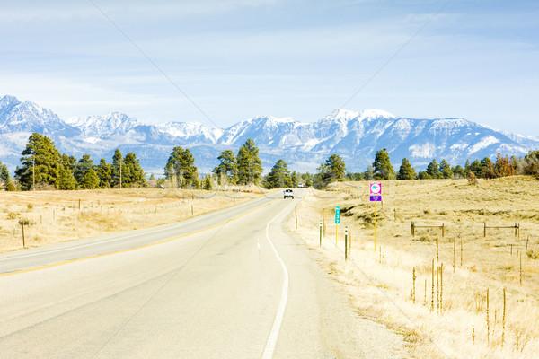 Weg bergen Colorado USA auto landschap Stockfoto © phbcz