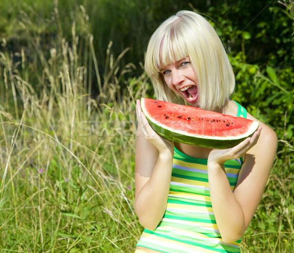 肖像 女性 メロン 果物 小さな だけ ストックフォト © phbcz